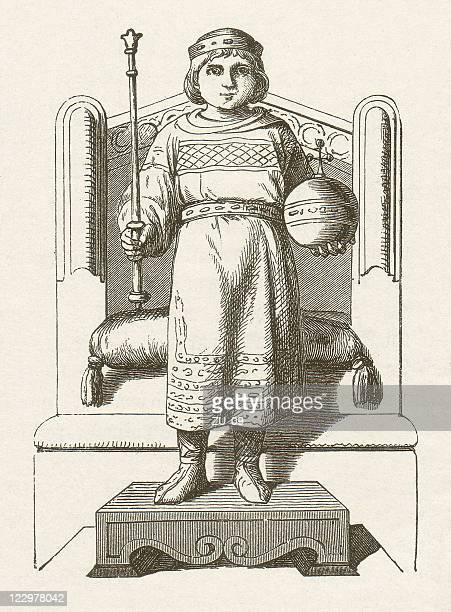 louis the child - circa 10th century stock illustrations