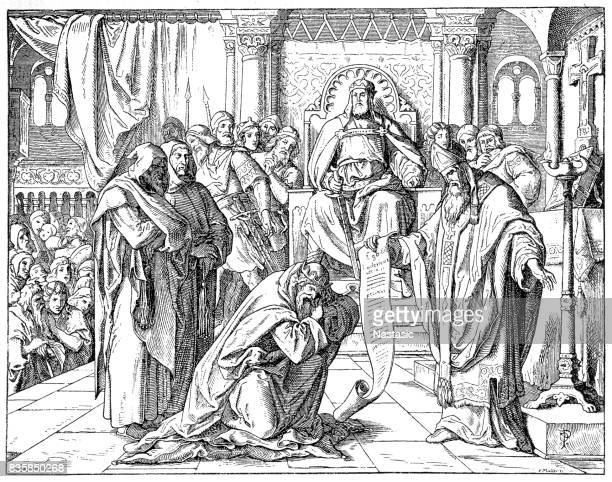 louis the pious (778-840) - bishop clergy stock illustrations, clip art, cartoons, & icons
