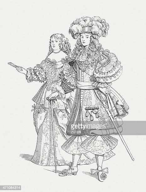 louis xiv and his first wife (c.1660), published in 1881 - louis xiv of france stock illustrations, clip art, cartoons, & icons