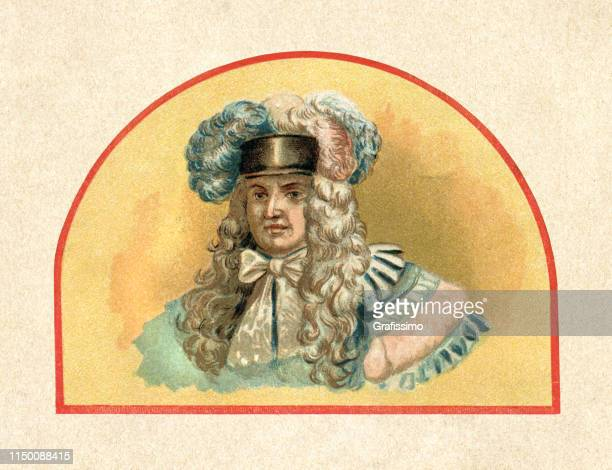 louis xiv king of france 1715 portrait - louis xiv of france stock illustrations, clip art, cartoons, & icons