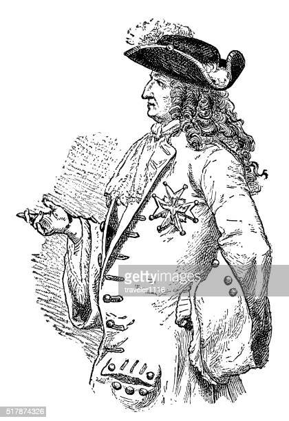 louis xiv - king of france - louis xiv of france stock illustrations, clip art, cartoons, & icons