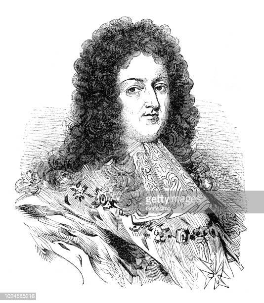louis xiv king of france portrait also known as sun king - louis xiv of france stock illustrations, clip art, cartoons, & icons