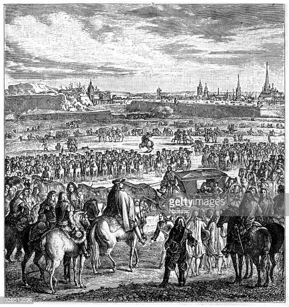 louis xiv of france directing a siege of cambrai (1677) - louis xiv of france stock illustrations, clip art, cartoons, & icons