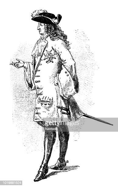 louis xiv of france - tail coat stock illustrations