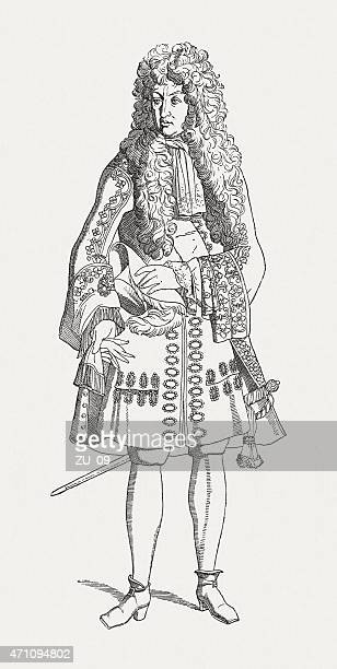 louis xiv of france (1698), wood engraving, published in 1881 - louis xiv of france stock illustrations, clip art, cartoons, & icons