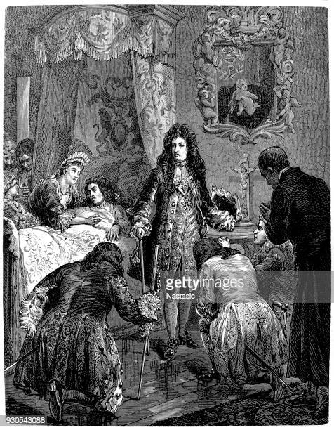 louis xiv on the deathbed of james ii - louis xiv of france stock illustrations, clip art, cartoons, & icons