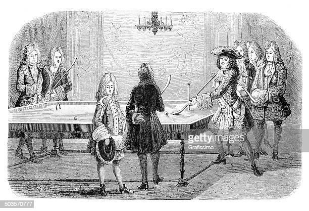 louis xiv playing billiard at versailles 1694 - louis xiv of france stock illustrations, clip art, cartoons, & icons