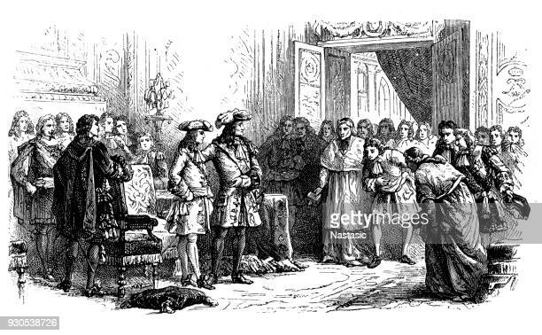louis xiv presents his grandson philip the court as king of spain. - louis xiv of france stock illustrations, clip art, cartoons, & icons