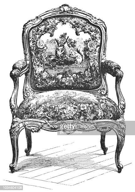 louis xv style armchair with beauvais tapestry of la fontaine's fables (1715-1774) - tapestry stock illustrations