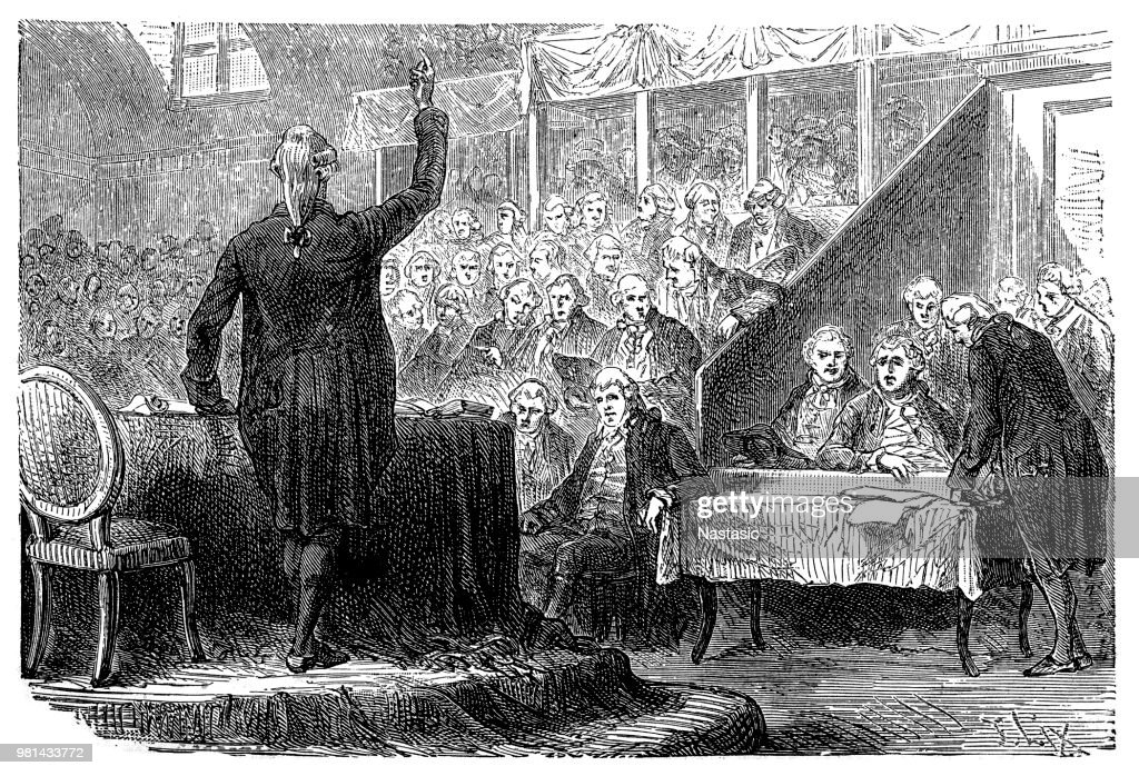 Louis XVI, 23.8.1754 - 21.1.1793, King of France 10.5.1774 - 21.9.1792, trial before the National Convent, 26.12.1792 : stock illustration