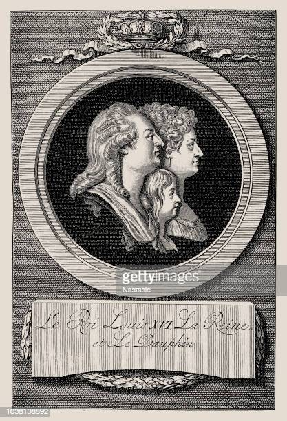 Louis XVI, 23.8.1754 - 21.1.1793, King of France 10.5.1774 - 21.9.1792, with wife Queen Marie Antoinette and son Louis (XVII)
