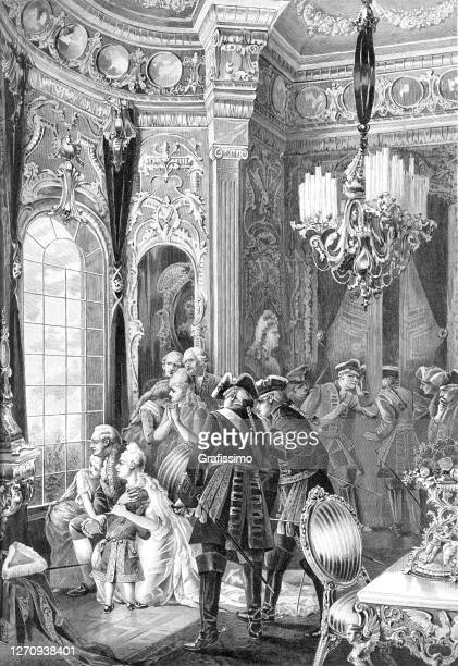 louis xvi of france with family in versailles 1789 at french revolution - king royal person stock illustrations
