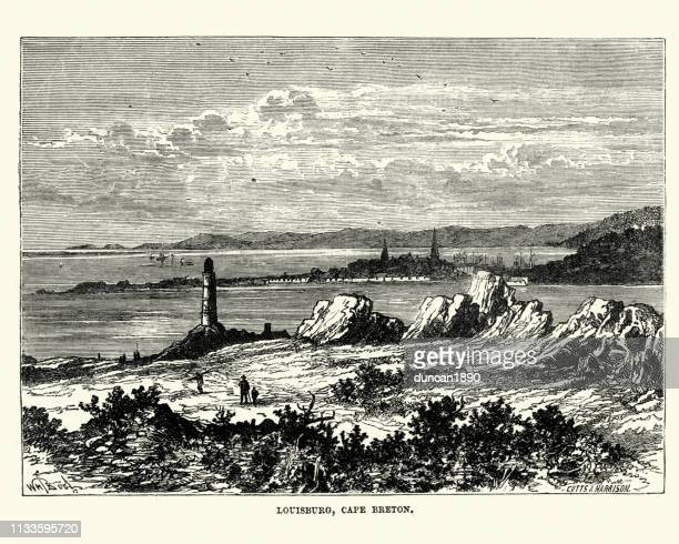 louisbourg, cape breton, nova scotia 19th century - louisbourg stock illustrations, clip art, cartoons, & icons