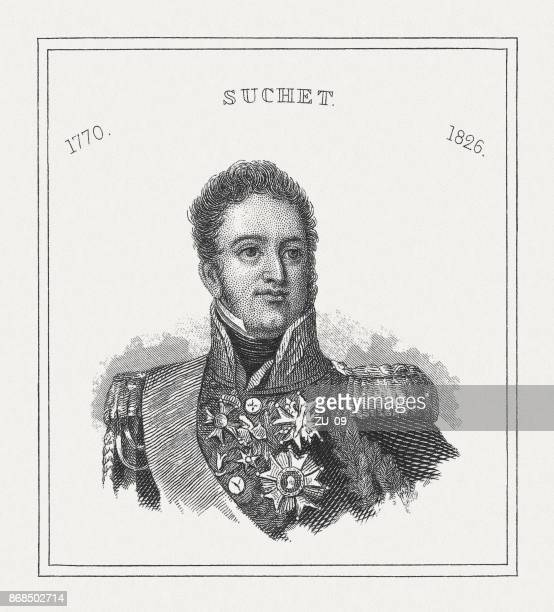 louis-gabriel suchet (1770-1826), french general, steel engraving, published in 1843 - comunidad autonoma de valencia stock illustrations