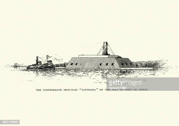 css louisiana, confederate ironclad - us navy stock illustrations, clip art, cartoons, & icons