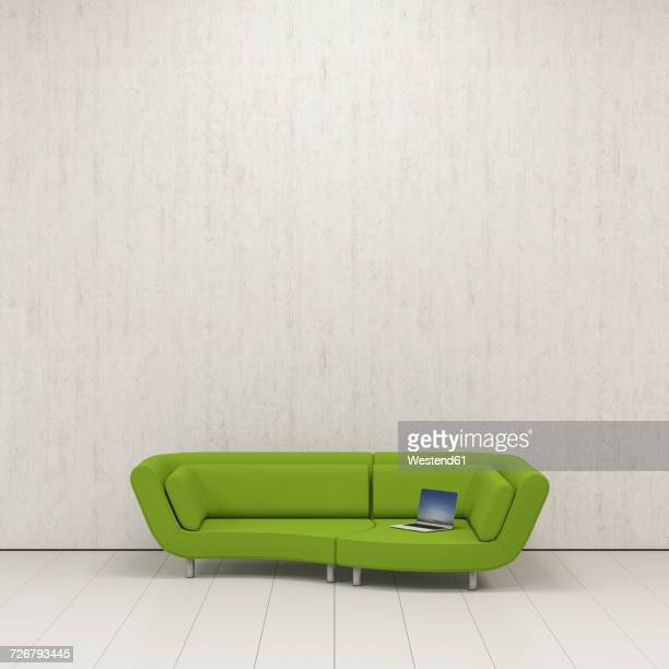 Lounger with laptop, 3D Rendering