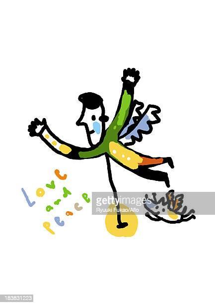 love and peace illustration - animal limb stock illustrations, clip art, cartoons, & icons