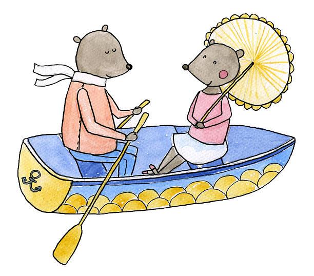 Love boat Watercolor illustration