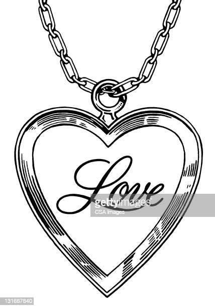 ilustraciones, imágenes clip art, dibujos animados e iconos de stock de love heart locket - cadena
