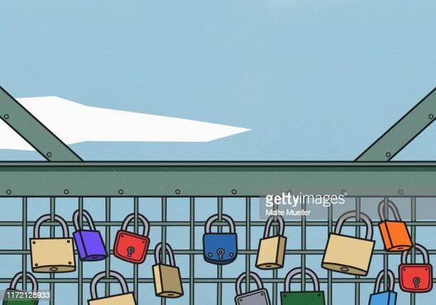 love locks on bridge - lock stock illustrations