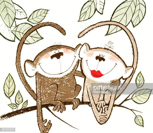 love monkeys - embracing stock illustrations