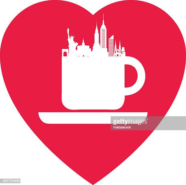 love new york coffee - st. patrick's cathedral manhattan stock illustrations, clip art, cartoons, & icons