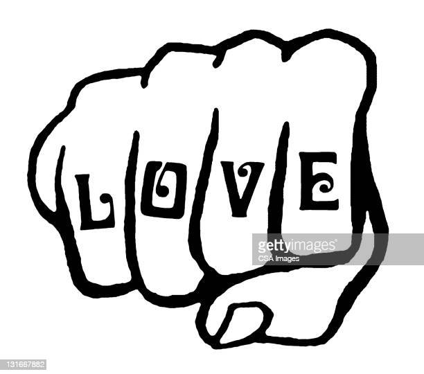 love tattoo on knuckles - design element stock illustrations