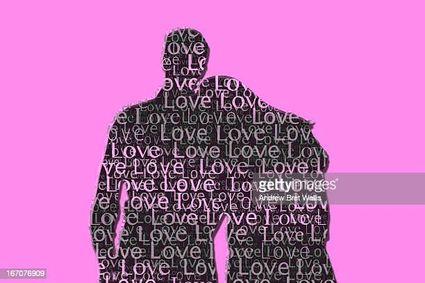 Love text outline of a man and woman cuddling
