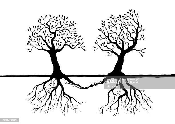 love tree draw on white - homosexual couple stock illustrations