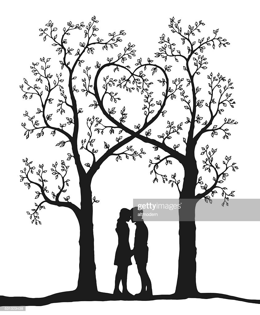 Love Tree Draw On White High Res Vector Graphic Getty Images