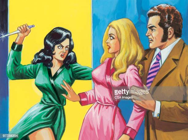 love triangle attack - the grass is always greener stock illustrations, clip art, cartoons, & icons