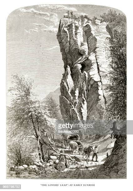 Lovers Leap, French Broad River, North Carolina, United States, American Victorian Engraving, 1872