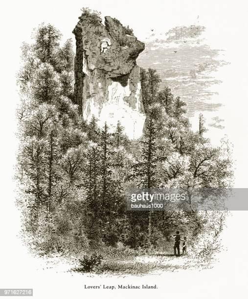 恋人は跳躍岩、マッキナック島, ミシガン州, アメリカ合衆国、アメリカ ビクトリア朝彫刻、1872 - 内陸部の岩柱点のイラスト素材/クリップアート素材/マンガ素材/アイコン素材