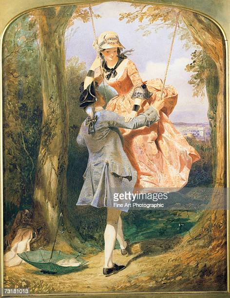 Lovers playing on a swing in the woods circa 1860 Original artist Edward Henry Corbould