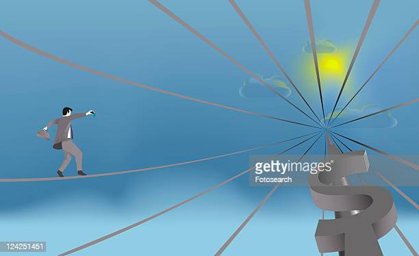 low angle view of a businessman walking on a wire - spire stock illustrations, clip art, cartoons, & icons