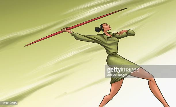 low angle view of a businesswoman throwing a javelin - javelin stock illustrations