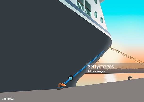 Low angle view of a cruise ship moored at a harbor
