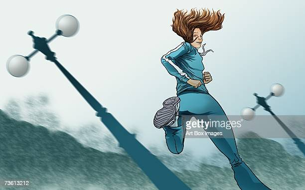 Low angle view of a woman jogging