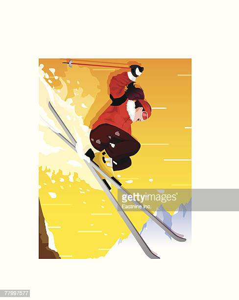 low angle view of a woman skiing - ski goggles stock illustrations, clip art, cartoons, & icons