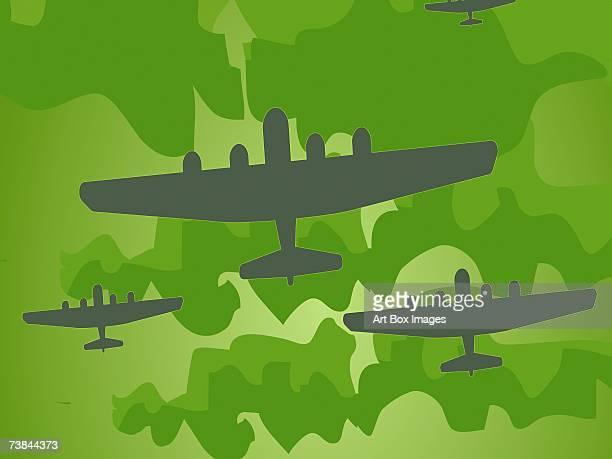 ilustraciones, imágenes clip art, dibujos animados e iconos de stock de low angle view of airplanes flying in the sky - vista de ángulo bajo