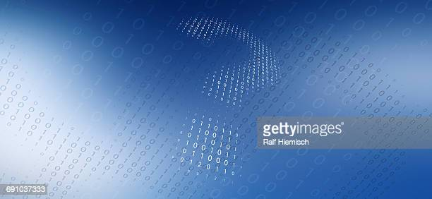 low angle view of question mark made from binary code over blue background - low angle view stock illustrations