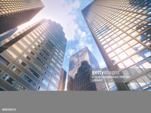 low angle view of skyscrapers, illustration - tall high stock illustrations