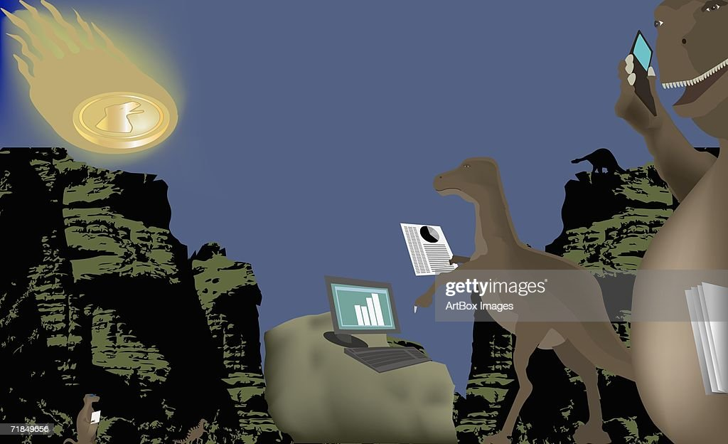 Low angle view of two dinosaurs using a mobile phone and a laptop : stock illustration