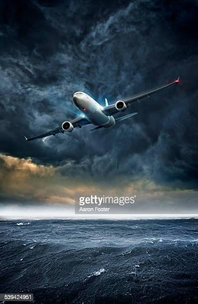 low plane - sea stock illustrations