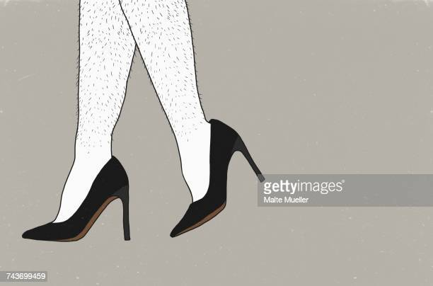 low section of man wearing stilettos against gray background - high heels stock illustrations