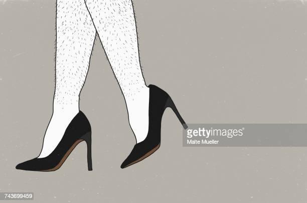 ilustraciones, imágenes clip art, dibujos animados e iconos de stock de low section of man wearing stilettos against gray background - tacones altos