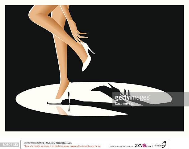 low section view of a woman adjusting her high heels - stiletto stock illustrations