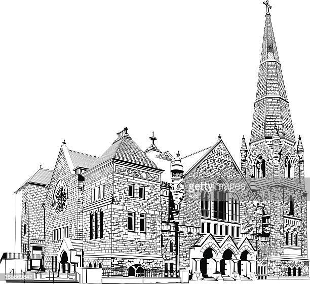 low-angle view of a church - steeple stock illustrations, clip art, cartoons, & icons