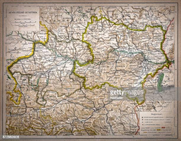 niederösterreich und oberösterreich - bodensee karte stock-grafiken, -clipart, -cartoons und -symbole