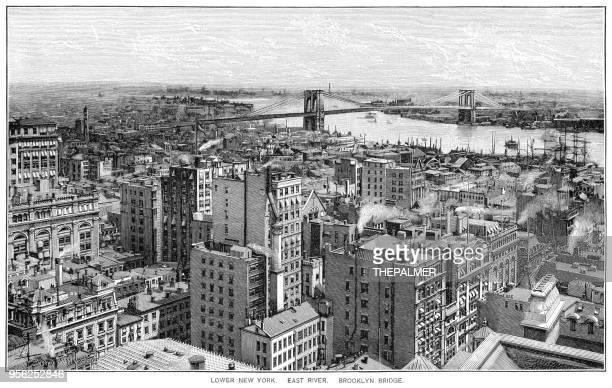 lower new york city engraving 1895 - brooklyn new york stock illustrations, clip art, cartoons, & icons